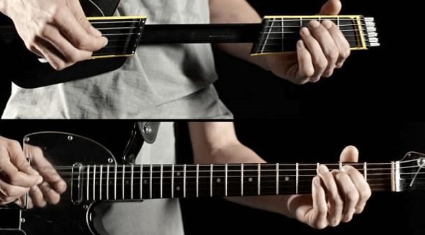 ネックが伸び縮みするMIDIギター